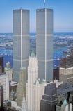 La vue aérienne du commerce mondial domine, New York City, NY Images libres de droits