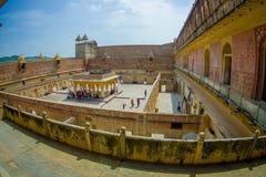 La vue aérienne du palais d'Amber Fort, est l'attraction touristique principale dans la région de Jaipur, près de Jaipur au Ràjas Photos libres de droits