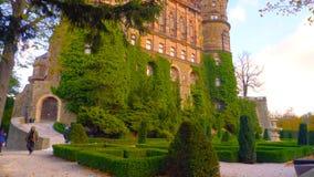 La vue aérienne panoramique du château célèbre et majestueux de la Pologne 2019 a entouré par la végétation érotique - Bilder image stock