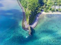 La vue aérienne renversante de Maconde bascule sur l'île des Îles Maurice photos libres de droits