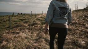 La vue arrière de la jeune femme élégante marchant sur la nature, en dehors de la ville par le champ près des chevaux cultivent Photos libres de droits