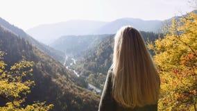 La vue arrière de la position femelle de femme sur la falaise, le lever de soleil de observation stupéfiant et l'apprécient Le fa banque de vidéos