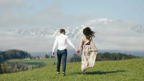 La vue arrière des couples courants heureux dans le pré de montagnes banque de vidéos