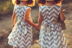 La vue arrière des soeurs de petites filles jumelle tenir des mains Amour, concept d'amitié Photo stock
