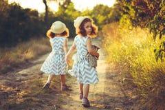 La vue arrière des soeurs de petites filles jumelle tenir des mains Amour, concept d'amitié Image stock