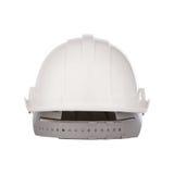 La vue arrière du chapeau de casque de sécurité a isolé le blanc photographie stock libre de droits