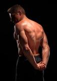 La vue arrière du sportif sans chemise démontrant de retour, pectorale, ABS muscles Photographie stock