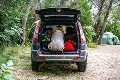 La vue arrière du tronc de voiture ouvert a emballé complètement des sacs de bagage dans le camp d de nature photographie stock