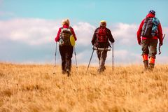 La vue arrière a tiré de jeunes amis dans la campagne pendant la hausse de vacances d'été Groupe de randonneurs marchant dans la  Photographie stock