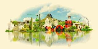 La vue au-dessus de la montagne de ville et de Tableau du seaa dégrossissent illustration de vecteur