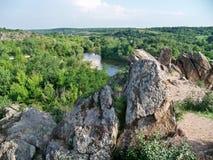 La vue au-dessus de la rivière et de la forêt Images libres de droits