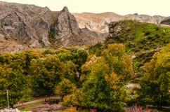 La vue d'automne le du village de montagne avec la noix jaunie a aménagé des jardins en parc Photos stock