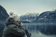 La vue d'hiver de Hallstatter voient images libres de droits