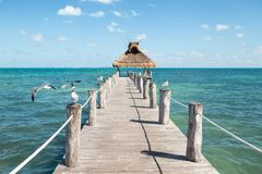 La vue d'océan d'un pilier avec des mouettes était perché des deux côtés de lui et d'un toit d'herbe à l'extrémité photographie stock