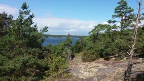 La vue d'une petite île dans la sorcière de la Finlande a un bon endroit à débarquer Image libre de droits