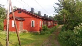La vue d'une petite île dans la sorcière de la Finlande a un bon endroit à débarquer Photos libres de droits