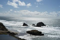 La vue dans l'extrémité de terres, San Francisco Image libre de droits
