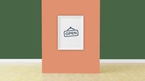 La vue dans le mur orange dans la chambre, 3d rendent Photo stock