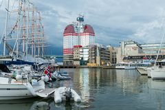 La vue de bâtiment de rouge à lèvres, une du point de repère de attraction célèbre à Gothenburg image stock