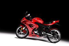 La vue de côté du rouge folâtre la moto sur le noir Photo libre de droits