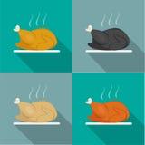 La vue de côté, rôtissent le poulet entier, Turquie, canard illustration libre de droits