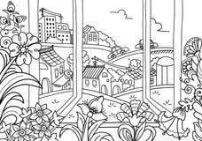 La vue de la coloration d'illustration de fenêtre illustration stock