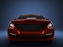 La vue de face 3d de voiture rouge rendent sur le gradient bleu Images stock