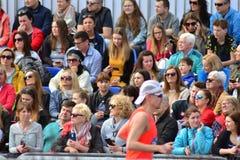 La vue de face des têtes publiques contemplent des marathoniens de ville photos stock