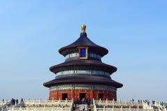 La vue de face du temple du Ciel avec un fond clair de ciel bleu dans Pékin, Chine Photographie stock libre de droits