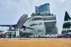 La vue de face du terminal 21 Pattaya de centre commercial photographie stock