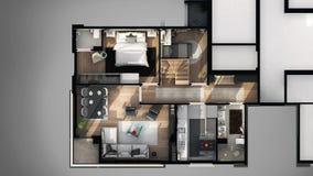 La vue de l'extérieur de 3D a conçu le plan d'étage Photos stock