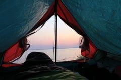 La vue de la tente sur la mer Photographie stock