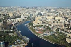 La vue de Moscou de la tour de fédération images libres de droits
