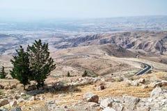 La vue de Mose's a promis la terre du Mt Nebo Madaba, Jordanie photographie stock