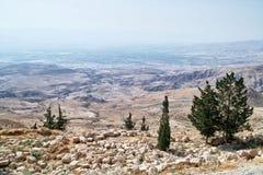La vue de Mose's a promis la terre du Mt Nebo Madaba, Jordanie photo stock