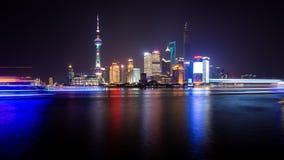 La vue de nuit de Changhaï Image libre de droits