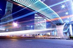 La vue de nuit de la circulation à Changhaï Photos libres de droits