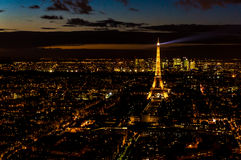 La vue de nuit de Paris, France photo stock