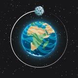 La vue de la terre et de elle de planète est satellite de l'espace Sphère bleue rougeoyante avec des océans, des continents et de illustration de vecteur