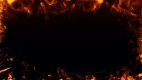 La vue des flammes du vrai feu br?lent la fum?e de mouvement Recouvrements de texture de fronti?re ?l?ment de conception photographie stock