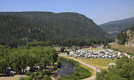 Terrain de camping de station de vacances de rv Photo stock