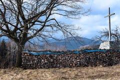 La vue du bois composé et le chrétien croisent dans le paysage de montagne images stock