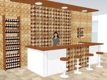 La vue du bureau de barre se tient dans une boutique avec un modèle de mur intérieur Image stock