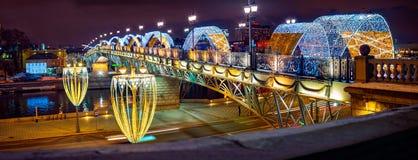 La vue du pont patriarcal Ville Moscou photo stock