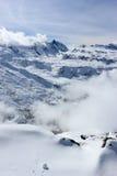 La vue du Rothorn 3.103 m présente les sommets les plus élevés des Alpes suisses Le Valais, Switzerland Photos stock