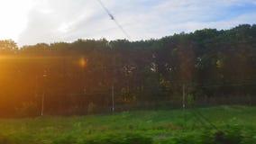 La vue du train sur le beau paysage avec les collines et la forêt avant coucher du soleil La vue de la fen?tre du banque de vidéos