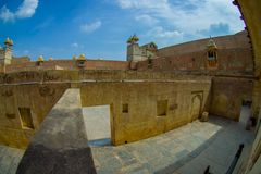 La vue extérieure du palais d'Amber Fort, est l'attraction touristique principale dans la région de Jaipur, près de Jaipur au Ràj Photographie stock
