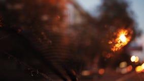 La vue foncée pluvieuse de nuit des essuie-glace font signe de l'intérieur d'une voiture à un feu de signalisation rouge banque de vidéos