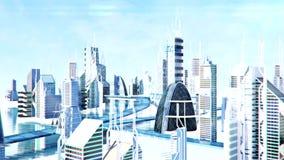 La vue futuriste de rue de ville de la science fiction, 3d a digitalement rendu l'animation illustration stock