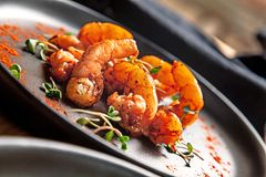 La vue haute étroite sur les fritures frites de crevette avec microgreen du plat foncé image libre de droits